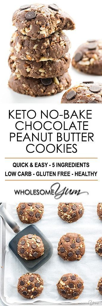 Easy Low Carb Peanut Butter Chocolate No Bake Cookies Recipe - These low carb peanut butter chocolate no bake cookies are easy to make with just 5 ingredients and taste amazing. The best no bake cookies I've ever tried!