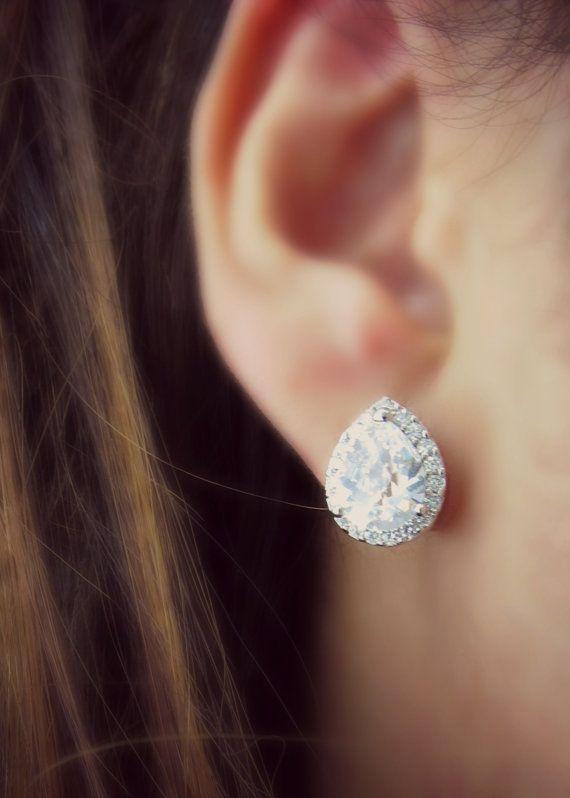 Bridal Earrings Cubic Zirconia Teardrop Stud Earrings Vintage White Crystal Earrings Sterling Silver Post Bridesmaid Gift Wedding Jewelry