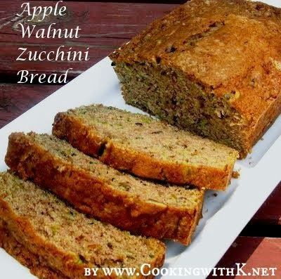 Join Apples and Zucchinis together to get this wonderfully delicious moist bread!  Apple Walnut Zucchini Bread
