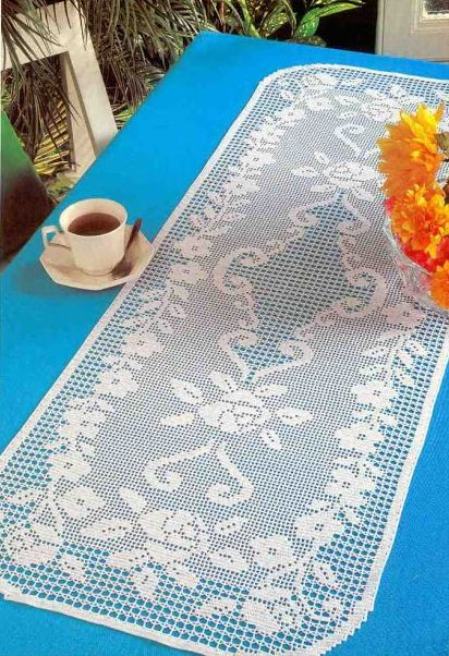 Filet Crochet 'Clematis Runner' ~ Free pattern and chart                                                                                                                                                                                 More