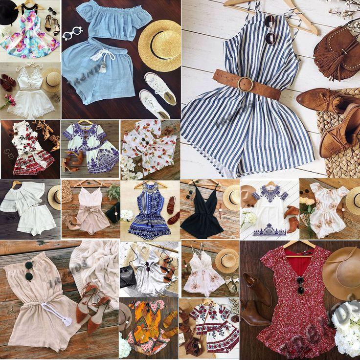 UK Womens Holiday Mini Playsuit Ladies Jumpsuit Summer Beach Dress Size 6 - 14 #Unbranded #BohoHippie #SummerBeach