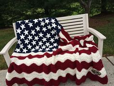 Wavy American Flag - free crochet blanket pattern by Tracy Johnson.