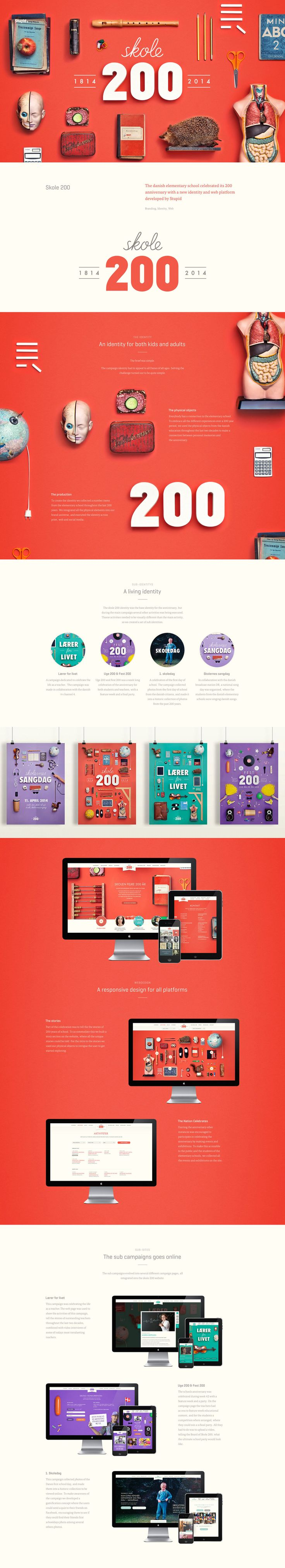 Skole. Celebrating two centuries of existence. Red colors and minimal Ui design concept.