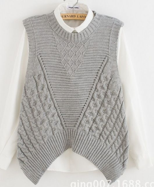 female grey pink sleeveless sweater vest cable twisted loose jumper knitwear pullover lady irregular hem back hollow out tops