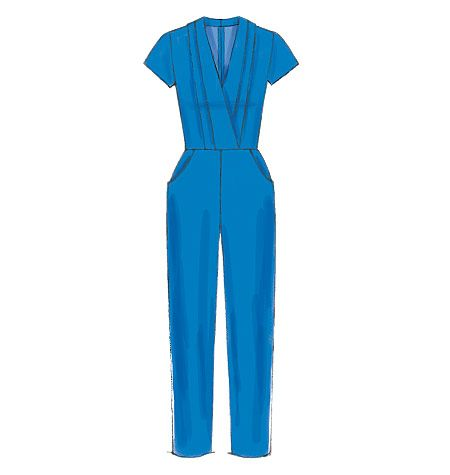 Sleek jumpsuit sewing pattern from McCall's can go dressy or casual. M7366 is designed for midweight woven fabrics, Misses' Pleated Surplice or Plunging-Neckline Rompers, Jumpsuits and Belt