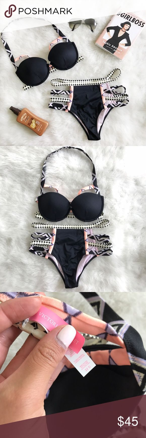 "Victoria Secret Aztec High Waist Bikini Set🖤👙 Victoria Secret Aztec High Waist Bikini Set🖤👙 Size: Top 32D Bottom ""S"" Condition: Used (worn once)  The perfect summer bikini, worn once to  Cancun Mexico, very flattering and tropical. Has no panty stains, bra does not have push up and hooks from top and back. In EUC no stains and no flaws.  This is a rare piece from 2015 collection. Have multiple bikinis need more space. No low balls top alone was $75 😄💕   In Bin: PS  **All items from my…"