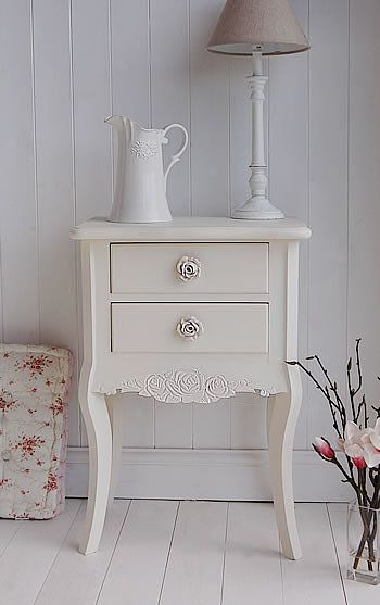 Cream Bedside Table - Peony Cream Bedroom Furniture sold by www.thewhitelighthousefurniture.co.uk