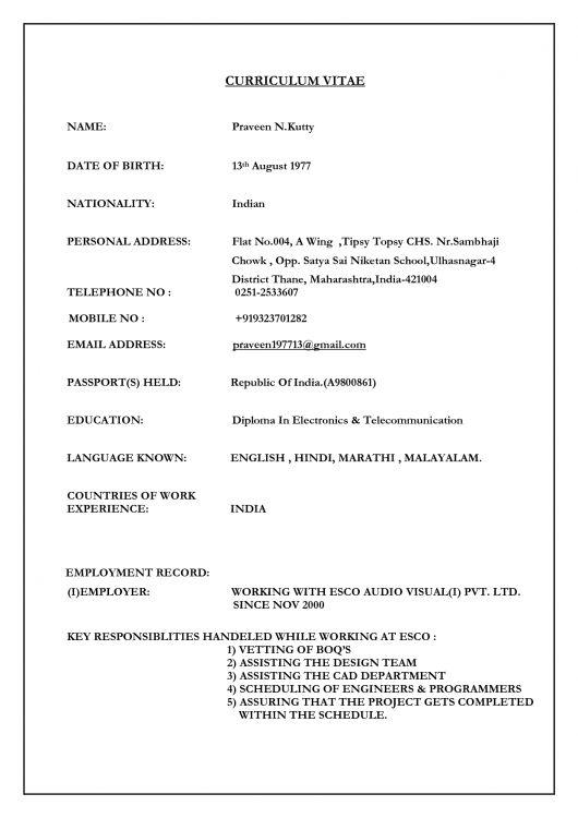 sample resume and bio data