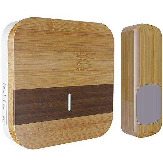Wood Grain Wireless Doorbell Kit,Door Chime with 1000-feet Range,IP44 Waterproof Transmitter,52 MP3 Melodies,Mailiya Portable Music Wireless Door Bell Chime,No Batteries Required for Receiver