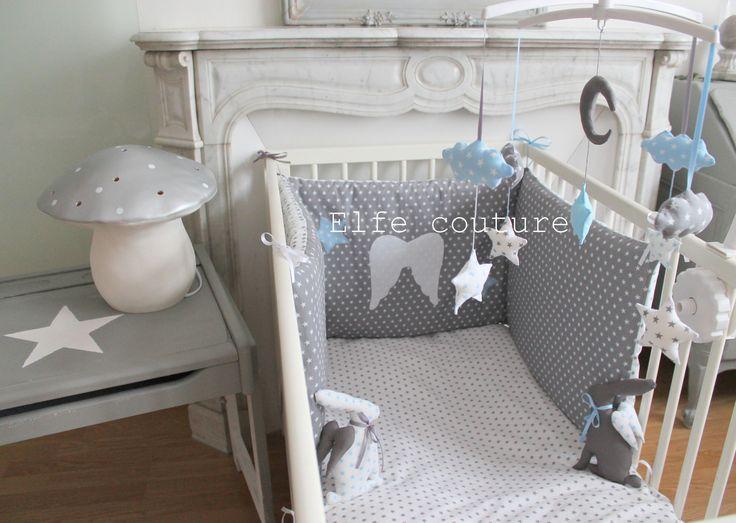 Tour de lit réversible petit prince 60x120 - tons blanc, gris, bleu layette étoilés appliques cousues ailes : Linge de lit enfants par Elfe Coutre, Made in La Ferte Gaucher, France