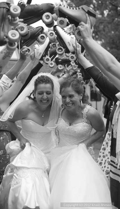 lovely!  #lesbian #lesbianwedding #rollerderby