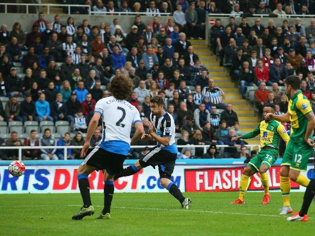 Oct. 18th. 2015: Nathan Redmond of Norwich City scores their second goal during the Barclays Premier League match between Newcastle United and Norwich City at St James' Park.