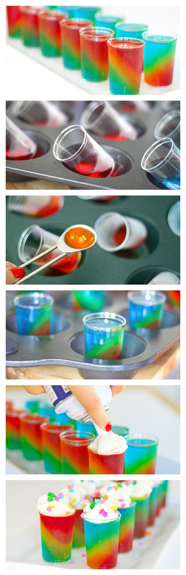 Slanted Rainbow Jelly Shots...you have to ask yourself if this is worth all that work...and the answer would be HELL YA!