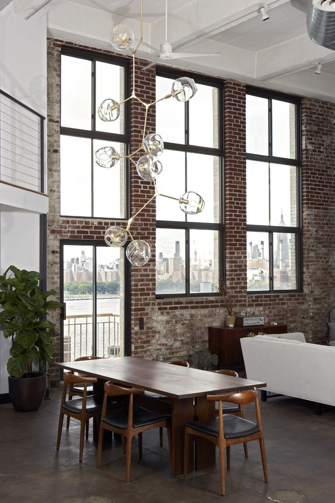 Ceilings and windows this high need some really special lighting - see... Chandelier by Lindsey Adelman Studio
