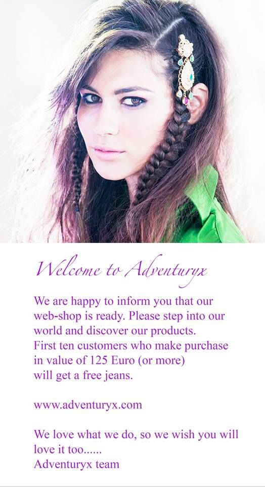 Welcome to Adventuryx! We are happy to inform you that our webshop is ready. Please step into our world and discover our products. The first ten customers who make purchase in value of 125 Euro (or more) will get a free pair of jeans! :) adventuryx.com We love what we do, so we wish you will love it too…. Adventuryx team #fashionbrand #trendy #party #partytime #stylish #jeans #shirts #fashionblogger #music #adventuryx #adnantaletovich