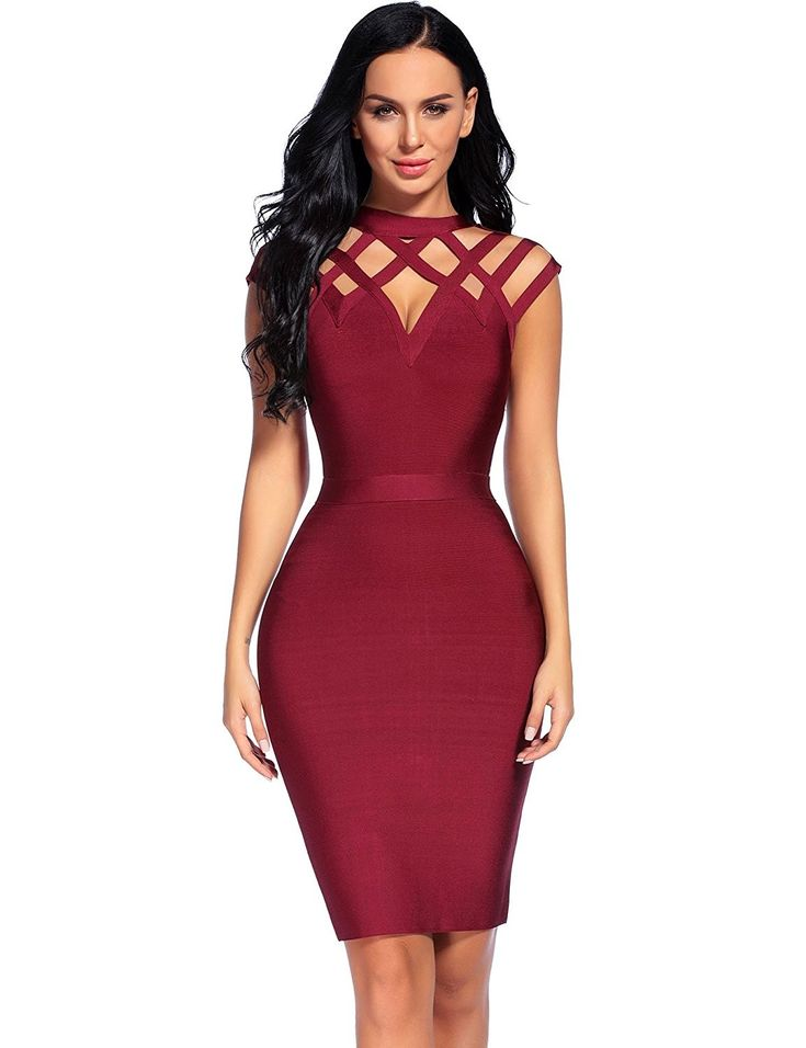 Women's Bandage Mini Dress Sleeveless High Neck Hollow Out Club Dresses – Wine Red – C812NT59ZU5
