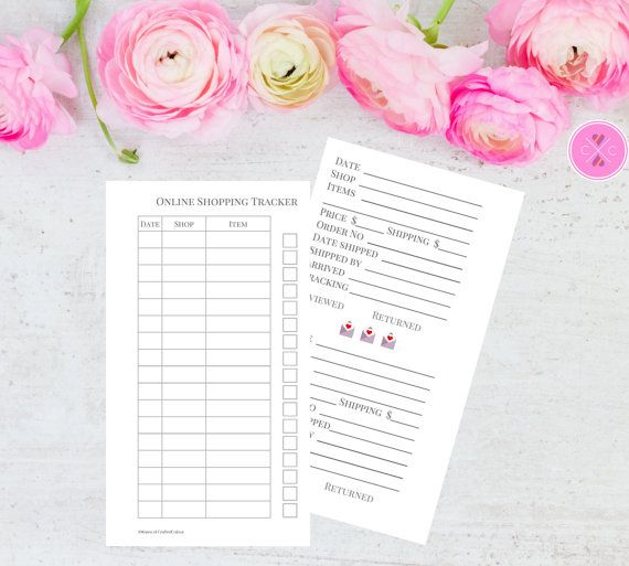 Keep track of your online shopping, happy mail and incoming orders using this comprehensive printable online shopping tracker for personal size planners. These printable inserts offers you an at-a-glance overview of your online purchases including store name, items ordered, date and a received checkbox. The following pages allow for more detailed information about your purchases including price, shipping cost, date shipped, postal service, arrival date, tracking number and checkboxes for…