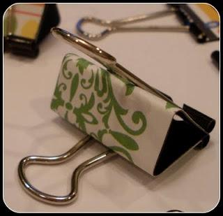 Decorate binder clips with designer paper