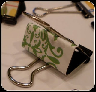 Decorate binder clips with designer paper