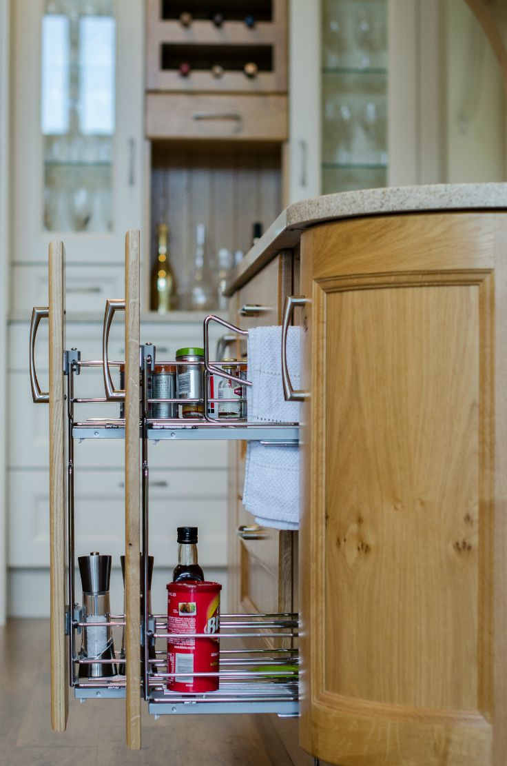 Storage- 150 mm pullouts for spice, oils and towels. Kitchen by Newhaven Kitchens Carlow.