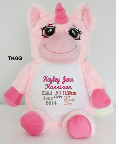 Personalised Snugabudz - Pink Unicorn (Birth Design) http://teddybearsandgifts.com.au/personalised-gifts-keepsakes/baby-to-toddler/birth-details-teddy-bears/?sort=alphaasc&page=2