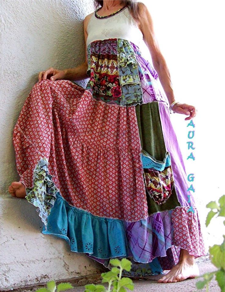 AuraGaia ~SummerBliss~ Boho Hippie Tiered Sun Dress OverDyed Upcycled XS-S