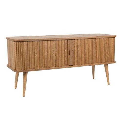 Het dressoir is gemaakt van essenhout.  Materiaal: essenhout, blanke lak Maximaal draaggewicht: 10 kg per glazen blad, 40 kg op totale meubel