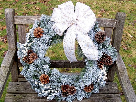 Christmas Wreath, Flocked with Pine Cones.  Gold and White.  Evergreen Wreath (artificial Pine).  Large, 18-inch.  www.etsy.com/shop/NaturesCraftSupply