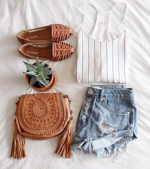 stripes + camel + cutoffs #oneteaspoon #nordstrom