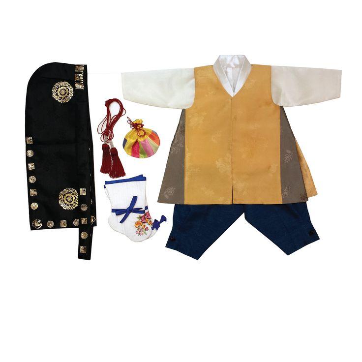 Pieces include: - 1 vest (베자) - 1 jacket (저고리) - 1 pants (바지) - 1 hat (복건) - 1 outer vest (도령포) - 1 vest tie (도령포) - 1 traditional socks (버선) - 1 luck pouch (복주머니) Vest (베자): Jun-Bok Style yellow vest