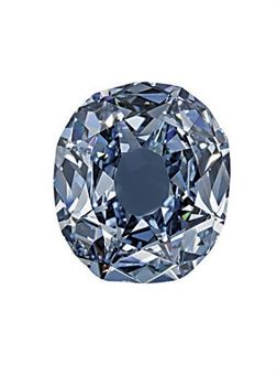 """THE WITTELSBACH DIAMOND while it may look blue to you and me, it is really considered a fancy deep grayish blue.  They use additional descriptions such as the """"grayish"""" to identify stones more exactly, these descriptions can greatly affect their value.  This one sold for $24 Million."""