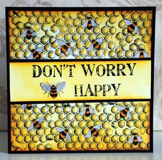 Chocolate Baroque - this uses Honey Bee set my daughter gave me... such cute little bees.  The sentiment always makes me smile - don't worry be happy