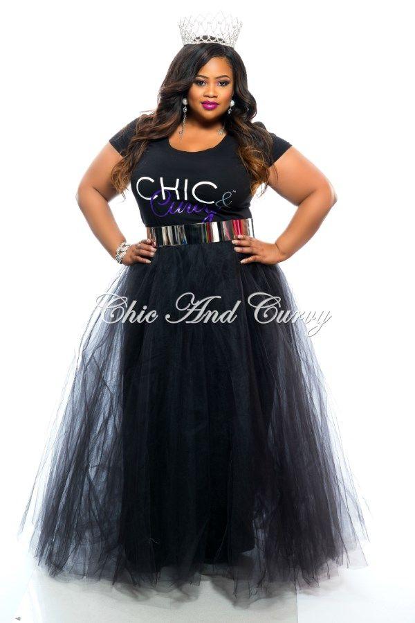 Final Sale Plus Size Long TuTu Skirt in Black 1x.