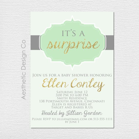 "Customizable and printable 5""x7"" It's a Surprise Baby Shower Invitations"