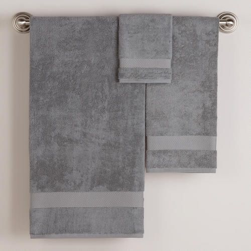 One of my favorite discoveries at WorldMarket.com: Frost Gray Bath Towel Collection for the display towels that stay on the towel bar