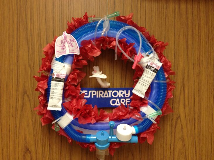 Respiratory Therapy Christmas Wreath Complete with trach hanging in the middle  school