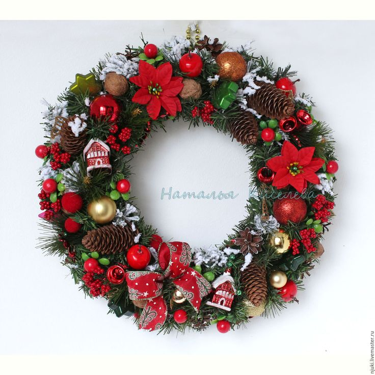 Купить Венок Новогодний Рождественский классический - зеленый, венок новогодний, венок рождественский, новогодние венки