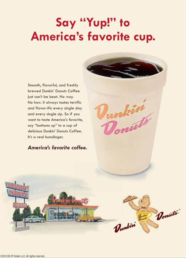 "Retro Dunkin' Donuts Ad from the 1960s, where DD Coffee is described as,  ""a real humdinger."" To see all of the retro ads in Newsweek's Mad Men issue: http://adage.com/article/mediaworks/retro-ads-newsweek-s-mad-men-issue/233377/"
