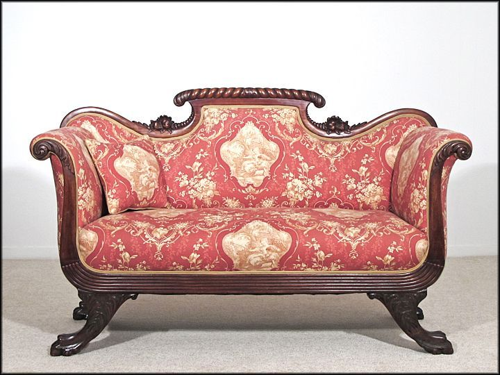 Solid Rosewood American Empire Sofa 1810 1830 Carved