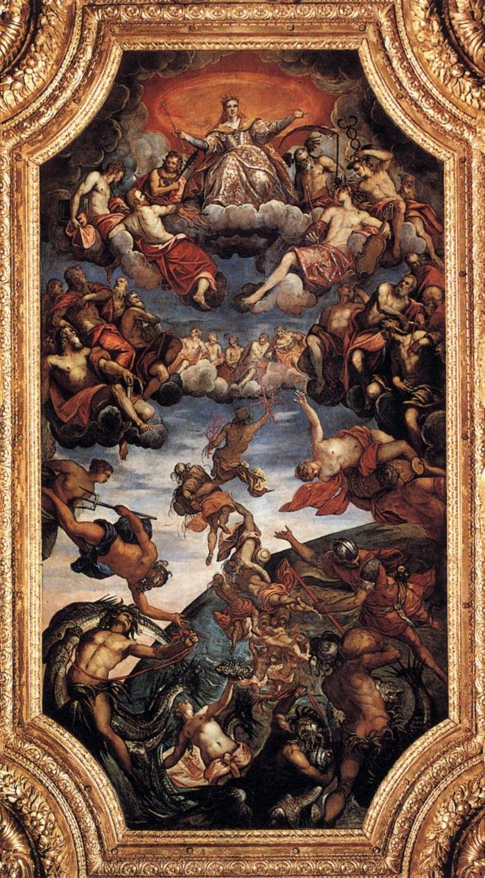 Triumph of Venice by Tintoretto, 1584 This huge ceiling painting by Italian High Renaissance/Mannerist painter Tintoretto can be seen in the Palazzo Ducale (the Doge's Palace) in Venice.