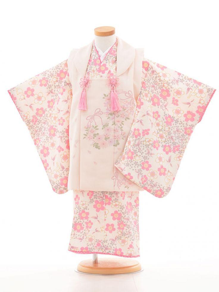 753レンタル(3歳女被布)03127白×ピンク花