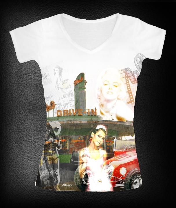 t-shirt femme drive in    P-plum