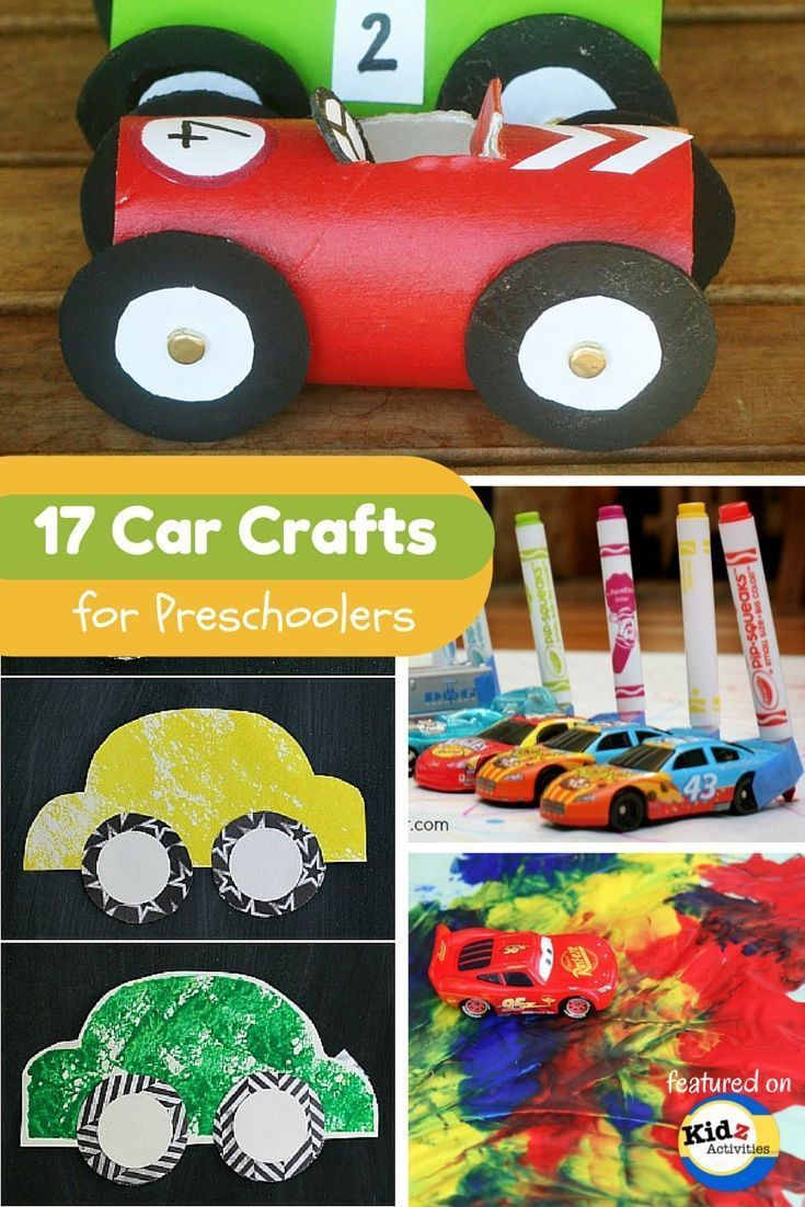 Car Crafts for Preschoolers featured on Kidz Activities - always a fun way to work on following directions, vocabulary for verbs, describers, nouns