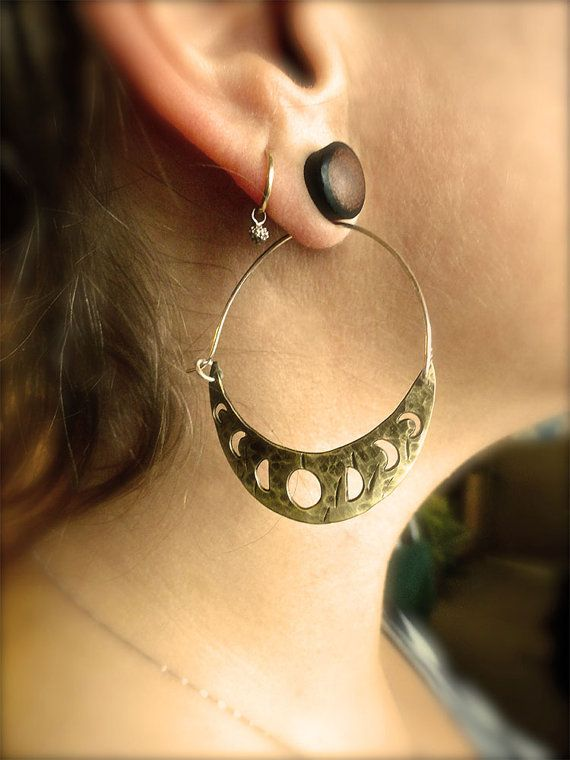 Lunar Moon Phase Hoop Earrings- moon phase calendar cut out of raw antiqued hammered brass hoop earrings.Made in CA.