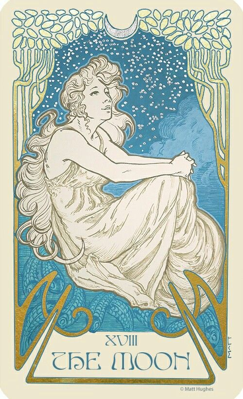 The Moon tarot card from the tarot deck by Art Nouveau artist Matt Hughes.