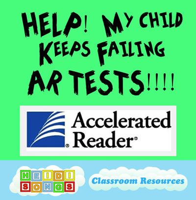 Some great tips and resources for parents (or to send home to parents) on helping kids to pass those Accelerated Reader Tests (or any other online reading program like A-Z Kids). Free resources and printables from Heidi Songs