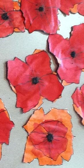 Remembrance Day Poppies - no instructions but it looks like pens drawings and water colours