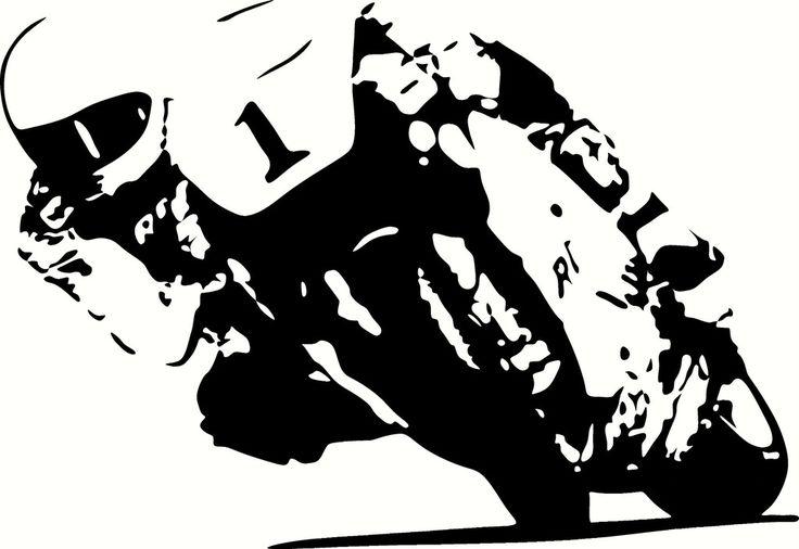 Motorradrennfahrer slidding Vinyl Ausschnitte Aufkleber, Sticker - wählen Sie Ihre Farbe und sortieren