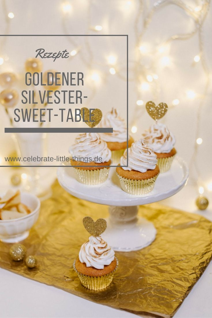 Goldener Silvester Sweet-Table mit Cupcakes