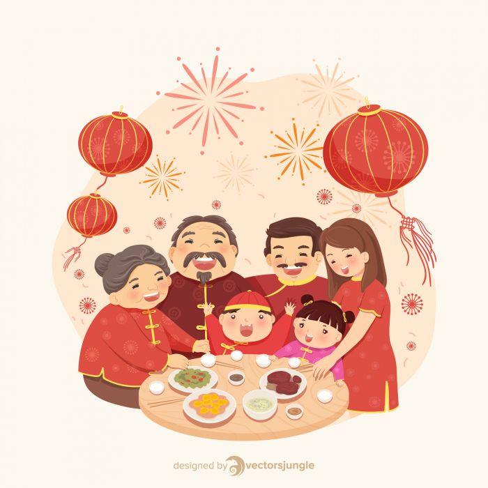 Lunar New Year Family Meal Download Free Premium Resources On Vectorsjungle Com วอลเปเปอร ด สน ย ภาพวาด กราฟ กด ไซน ญ ป น